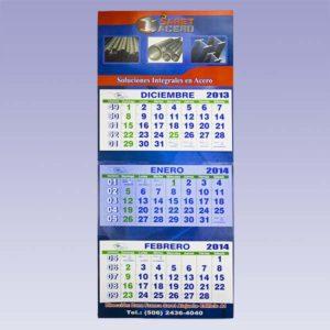 Calendario de pared de 3 cuerpos